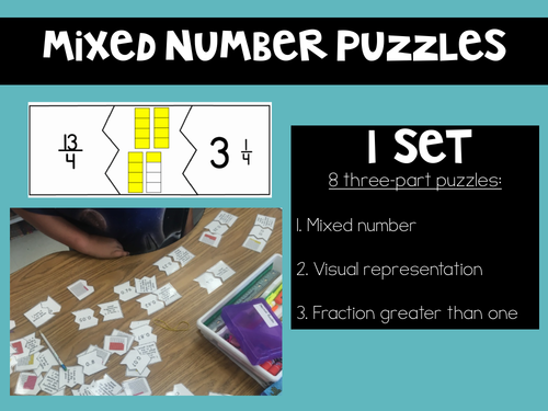 FREE Visual Representation Puzzle: Improper Fractions and Mixed Numbers