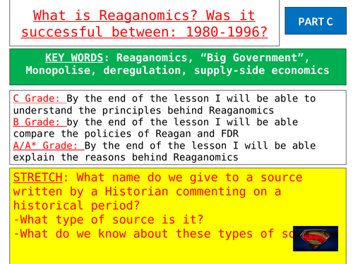 Lesson 1 - introduction to Reagan and Reaganomics