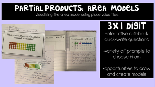 Partial Products: Academic Notebook Visuals and Response Prompts