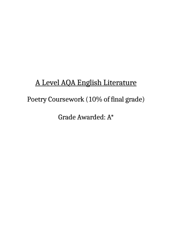 A Level English Lit Poetry Coursework