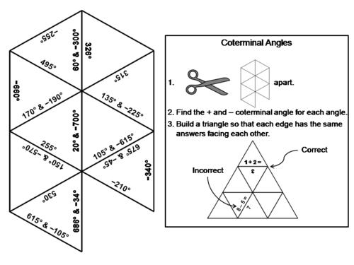 Coterminal Angles Activity: Math Tarsia Puzzle