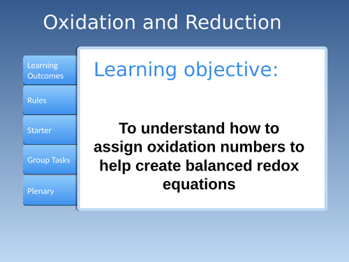 AS Oxidation Numbers and half equations