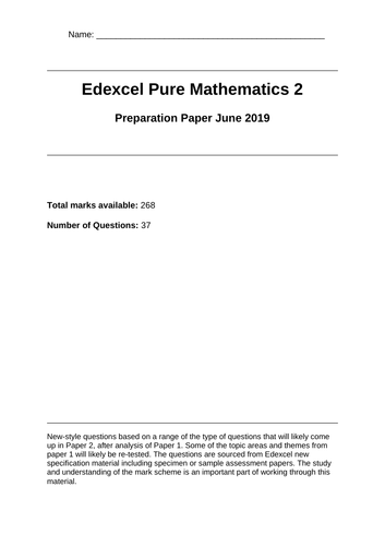 June 2019 Edexcel Pure 2 Maths Predicted Paper