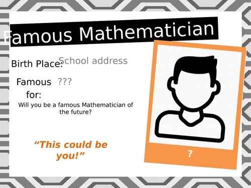 Posters about famous mathematicians