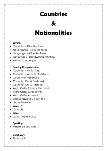 Countries, Nationalities & Languages