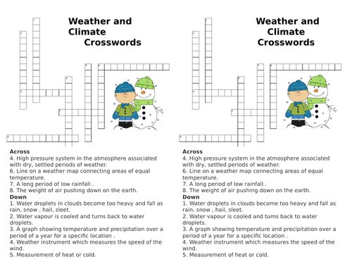 Weather and Climate - Crosswords