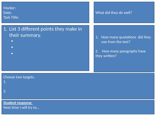 A Peer Assessment Sheet For Summarising Questions