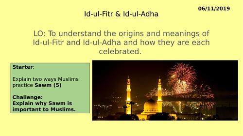 AQA GCSE RE RS - Islam Practices L6 Id-ul-Fitr & Id-ul-Adha festivals.