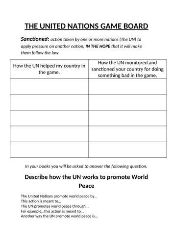 United Nations Game Board and info sheet