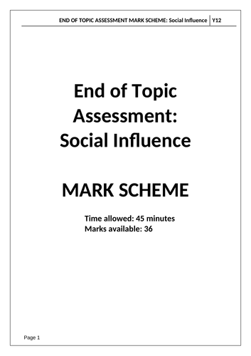A Level Psychology AQA Paper 1 - SOCIAL INFLUENCE - End of Topic Test and Mark Scheme