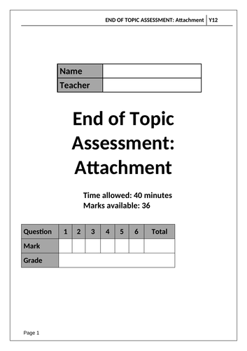 A Level Psychology AQA Paper 1 - ATTACHMENT - End of Topic Test and Mark Scheme