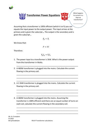 GCSE Physics - Transformer equations VpIp=VsIs