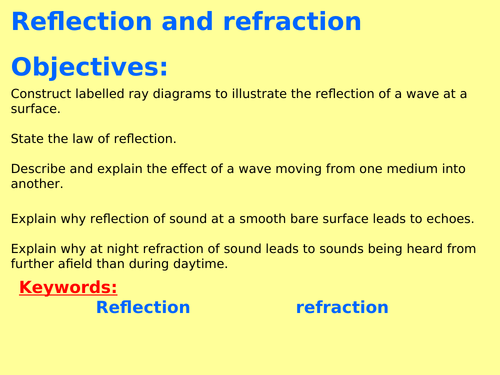 AQA P6.3 ( Physics GCSE spec 4.6) - Reflection and refraction of waves (with RP) (TRIPLE ONLY)