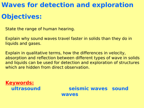 AQA P6.4 (Physics spec 4.6 - exams 2018) - Sound waves + detection and exploration (TRIPLE ONLY)