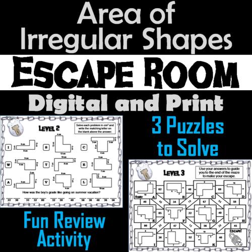 Area of Irregular Shapes Activity: Math Escape Room Geometry