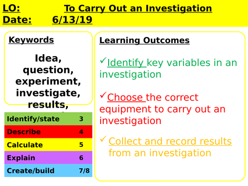 Year 7 Introduction to Science - Investigations