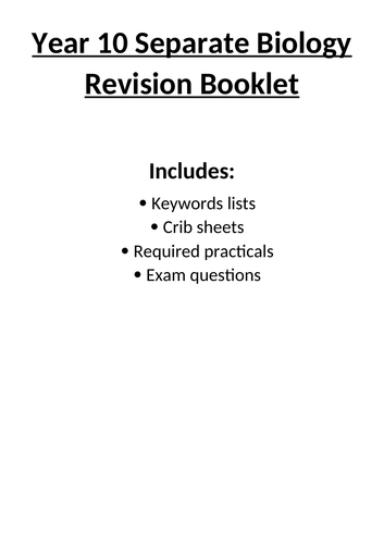 AQA GCSE (9-1) Biology Separate Year 10 Revision Booklet (Topics 1-4)