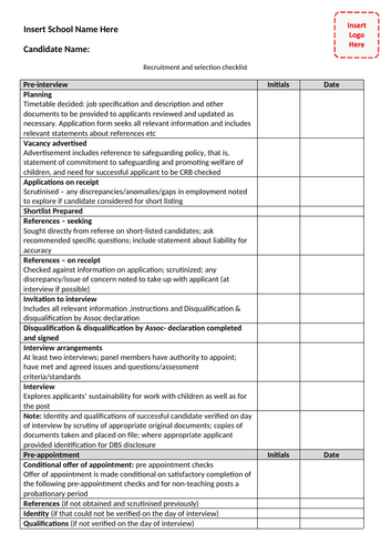 Recruitment and selection checklist 2019