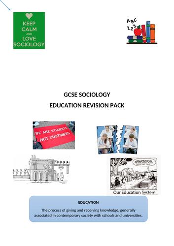 GCSE Sociology Education Revision Pack (AQA)