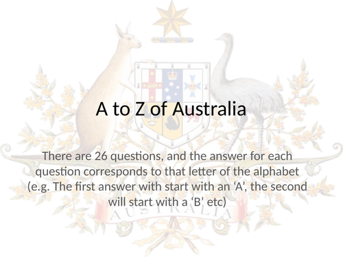 A to Z of Australia - End of Term Quiz