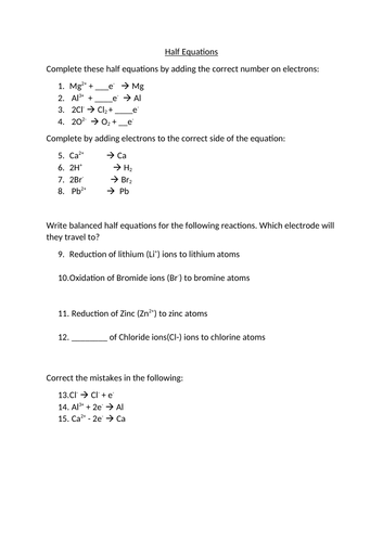 Half Equation Differentiated Sheet