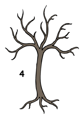Activity to match autumn leaves to the correct tree with number bonds  for 4,5,6,7,8,9 and 10.