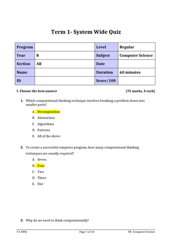 Computational Thinking Exam with solution and classroom CT activities for Year 6/7/8/9