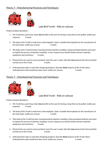 Product Design A Level Product Analysis Question OCR Theory 7