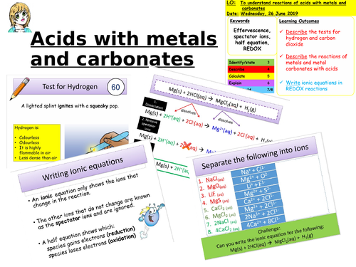 CC8f Reactions of acids with metals and carbonates