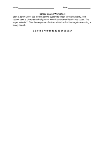 Binary Search Worksheet - GCSE Computer Science
