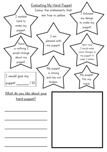 KS1 Hand Puppet Evaluation Sheet Differentiated