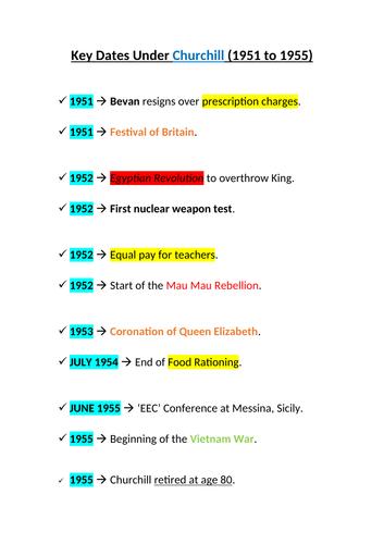 Key Dates Under Churchill (1951 to 1955)