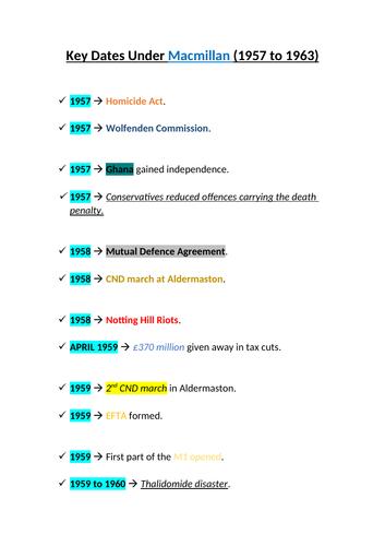 Key Dates Under Harold Macmillan (1957 to 1963)