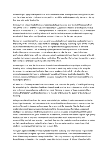 Assistant Head job application cover letter