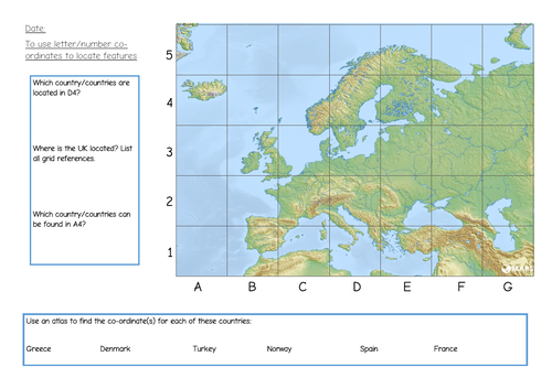 Map Of France Ks1.Ks1 2 Map Skills Grid References By Resourcerosie Teaching Resources
