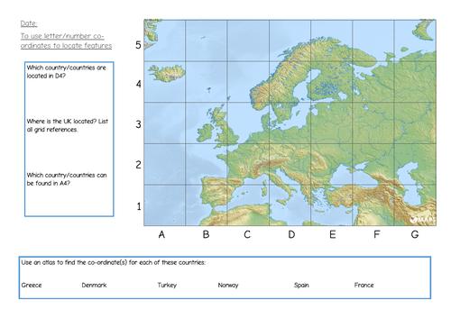 KS1/2 Map skills - grid references