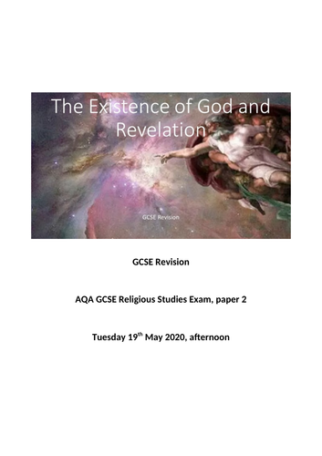 AQA Religious Studies Existence of God and Revelation Revision