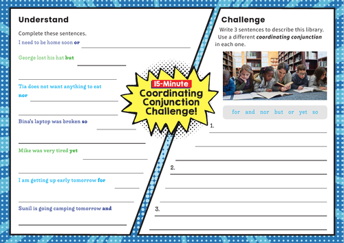 Coordinating Conjunctions – Y3 SPaG Challenge Mat