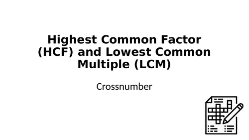 Crossnumber: Highest Common Factor (HCF) and Lowest Common Multiple (LCM)