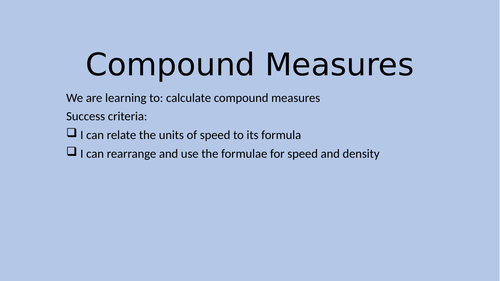 Compound Measures Lesson PPT