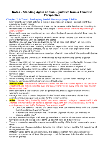 OCR A Level RS, Judaism- Feminism Topic 5 notes