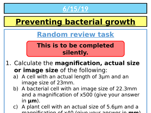 AQA GCSE (9-1) Biology (Separates) - Preventing bacterial growth