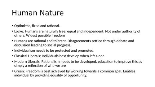 AQA A Level Government & Politics: Liberalism Flashcards/Revision Sheet