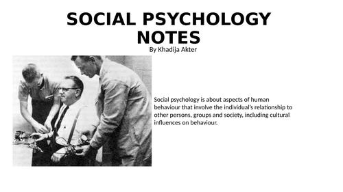 Edexcel Social Psychology A Level Revision Notes