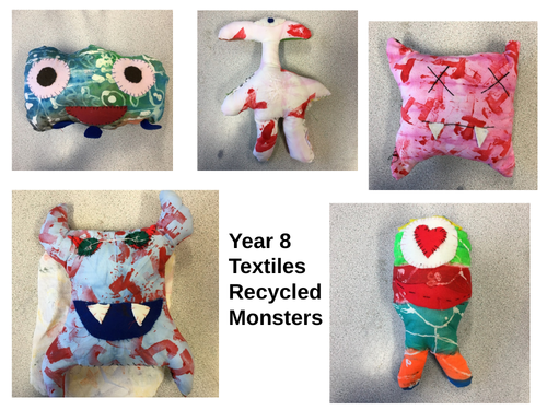 KS3 D&T Textiles Recycled Monsters Project