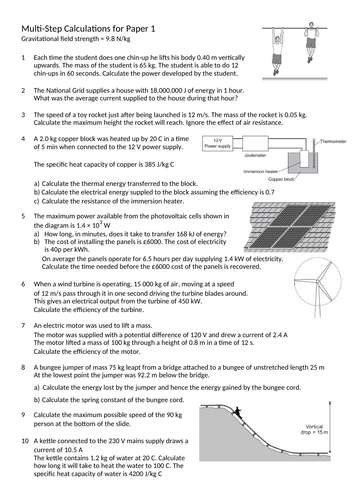 Multi-step calculation questions (paper 1 physics AQA)