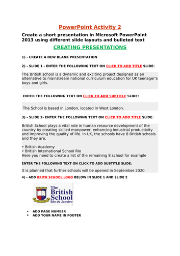 Microsoft PowerPoint  Presentation practical basics activities for Year 7