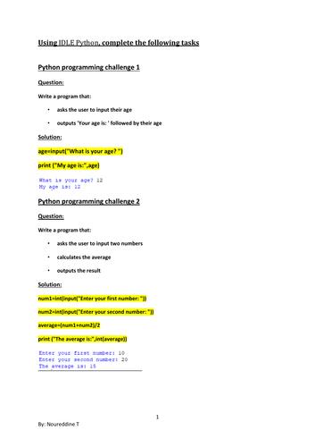Python programming  practical activities