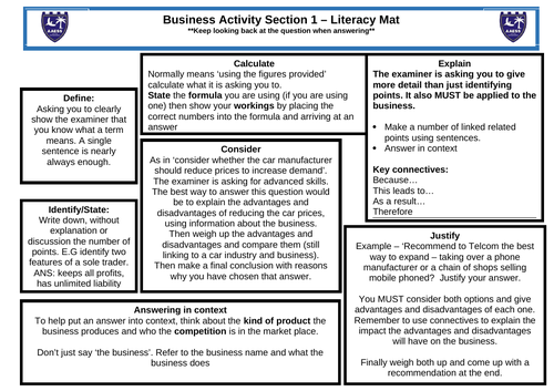 CIE Business Studies 0450 Literacy maps SEN EAL differentiation