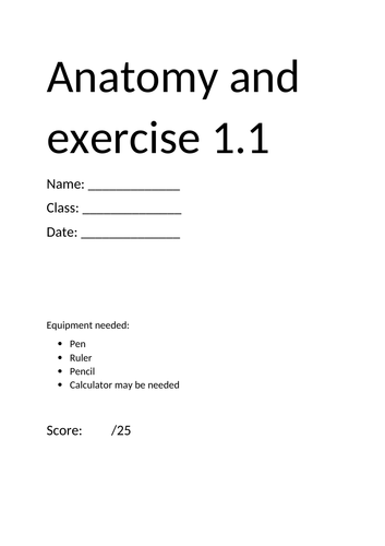 GCSE PE Anatomy and Exercise Assessment
